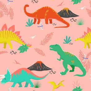 Jurassic Dinosaurs on Pink