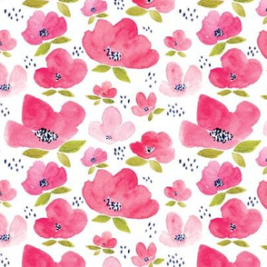 Pink Summer Floral Watercolor