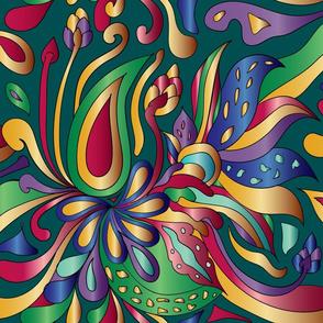 Groovy Mushroom Paisley Florals- Jewel Tone- Large Scale