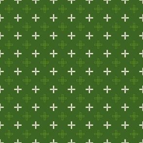 Mini Open Greek Cross in Green
