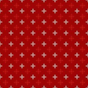 Mini Open Greek Cross in Red