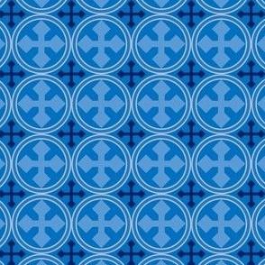 Greek Circle Cross in Blue