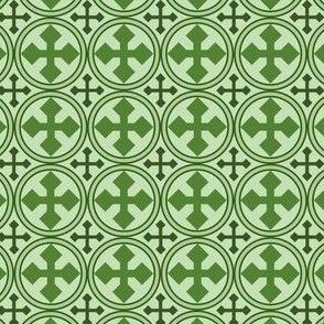 Greek Circle Cross in Green