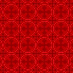 Greek Circle Cross in Red