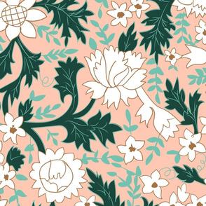 Rosabell Filigree- Mid Century Folk Florals-Rose Large Scale