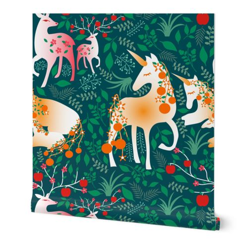 Once Upon a Time- Mystical Woodland with Apple Deers and Orange Unicorns- Jumbo Scale