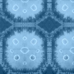 Octagon Shibori Steel Blue Large Scale