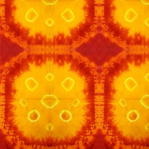 Octagon Shibori Red and Mustard Large Scale