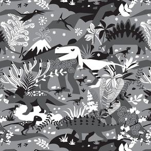 Dino world | black and white