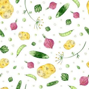 Vegetable mix on white