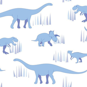 dinosaurs pattern- blue-large