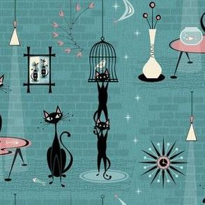 Mid Century Kitty Mischief ©studioxtine