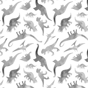 Watercolour Dinosaurs in Grey