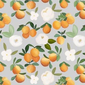 oranges and florals on light gray