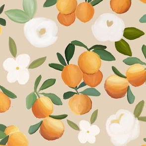 oranges and florals on light peach