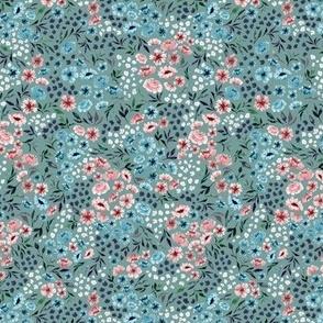 Ditsy Spring Watercolor Flower V.01-Teal