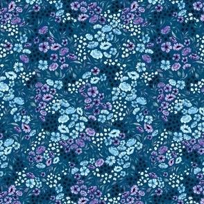 Purple Ditsy Spring Watercolor Flower - Blue