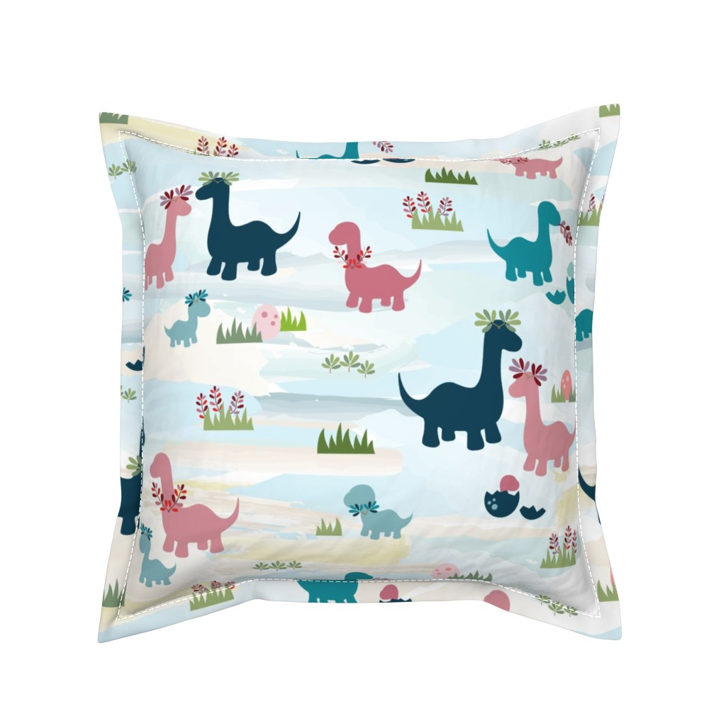 Serama Throw Pillow featuring Dino Family by twigged