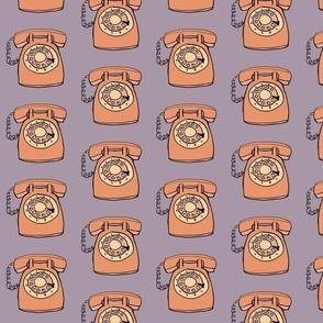 rotary phone in orange