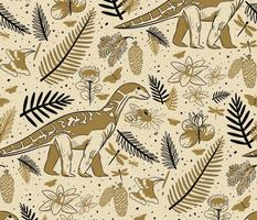 Cretaceous Period Dinosaur and Botanicals