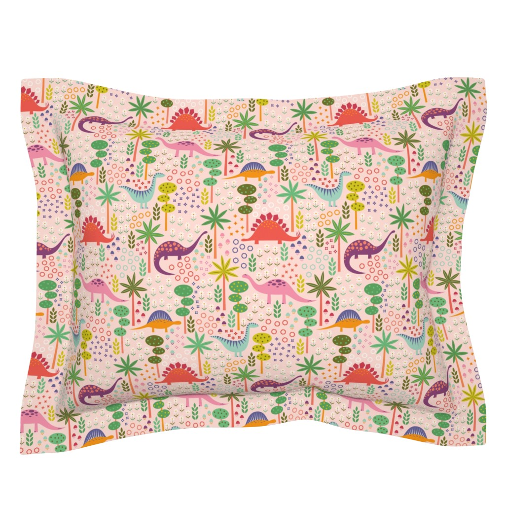 Sebright Pillow Sham featuring Dinos in the Garden by katerhees