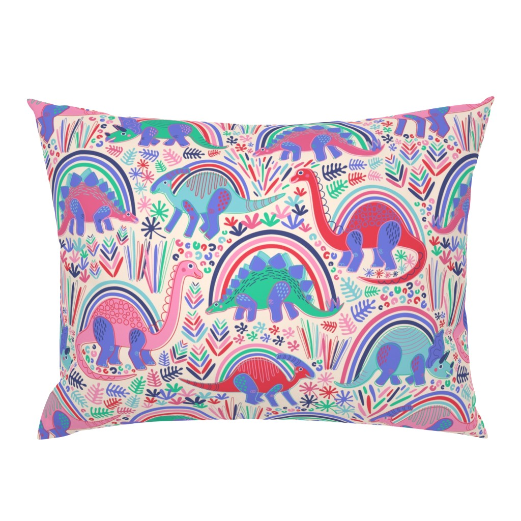 Campine Pillow Sham featuring Rainbow Bright Dino-Might by nanshizzle
