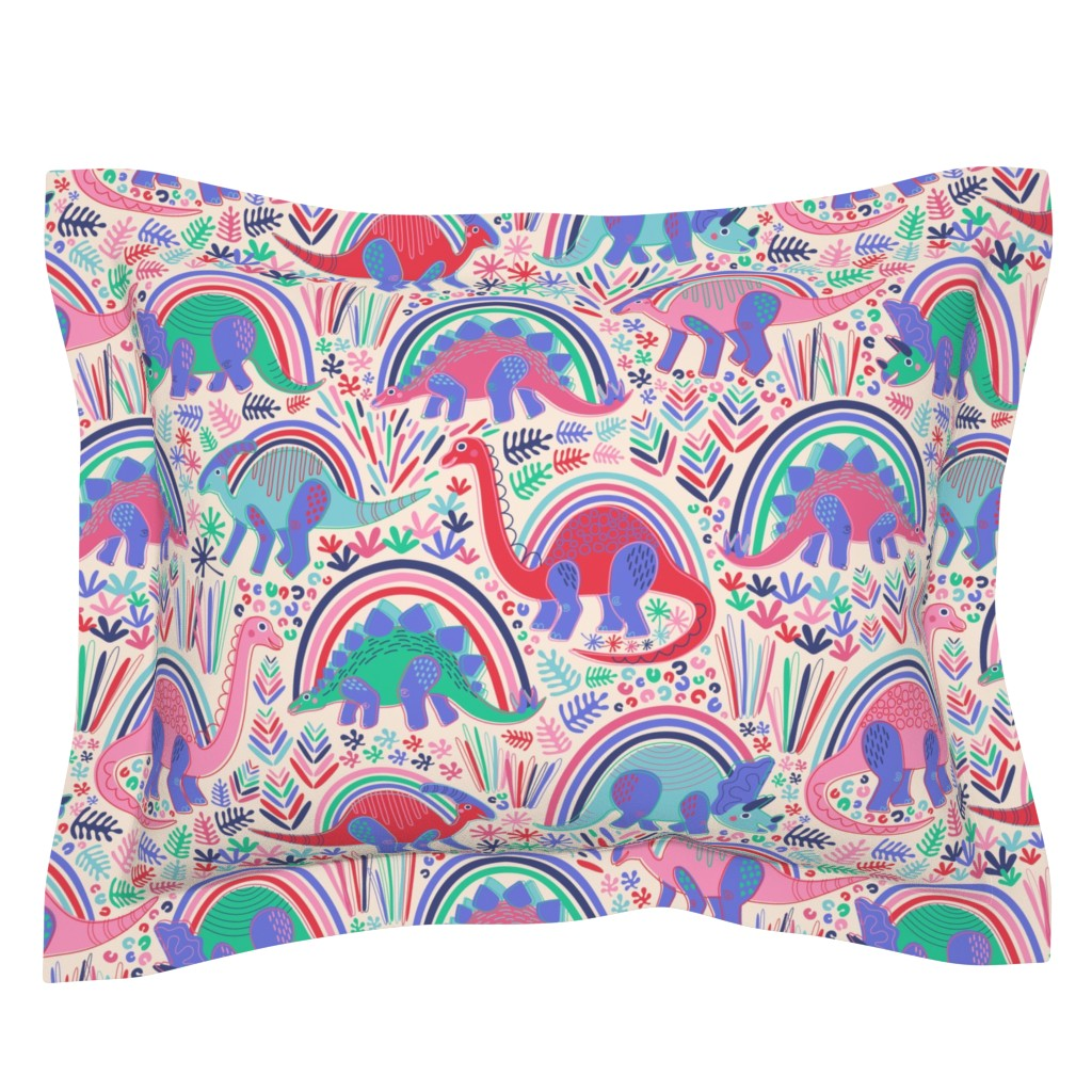 Sebright Pillow Sham featuring Rainbow Bright Dino-Might by nanshizzle