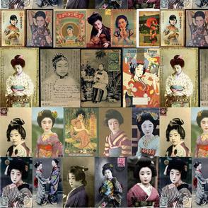 Nippon postcard fabric