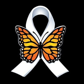"White ribbon with Butterfly for 8"" patch"