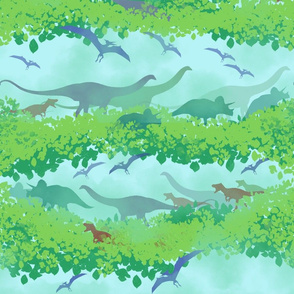 Dinosaur trek-green-blue