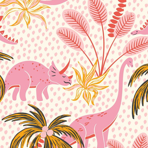 tropical dinosaurs - pink/large scale