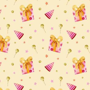 Birthday Balloons on yellow