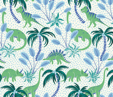 tropical dinosaurs - blue and green/medium scale