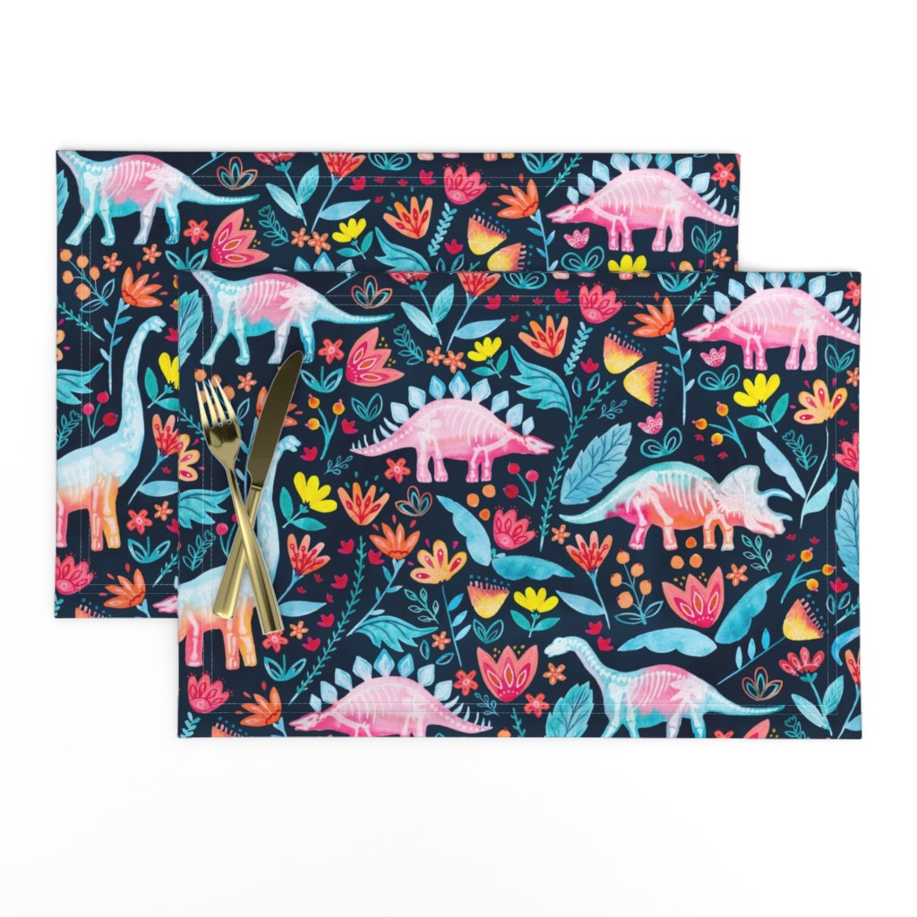 Lamona Cloth Placemats featuring Dinosaur Delight by gingerlique