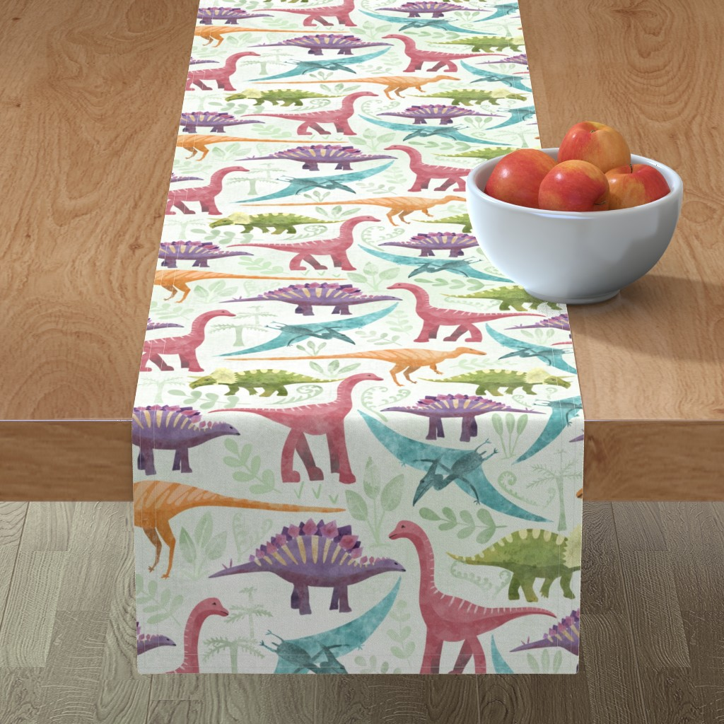 Minorca Table Runner featuring Dinosaur jungle by vicki_larner