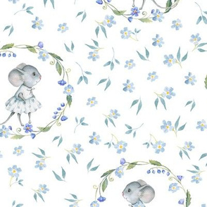 """9"""" Cute baby mouse girl and flowers, mouse fabric, baby fabric,nursery fabric and mouse nursery on flower meadow"""