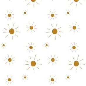 hand drawn sun - white, irregular