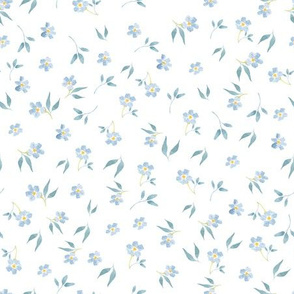 """9"""" Tiny blue hand drawn watercolor flowers on white - Mix & Match with my Mice patterns 2"""