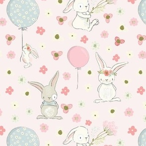 "7"" Spring is in the air- Little Bunnies and Cute Florals - baby girls fabric - spring animals flower fabric, baby fabric"