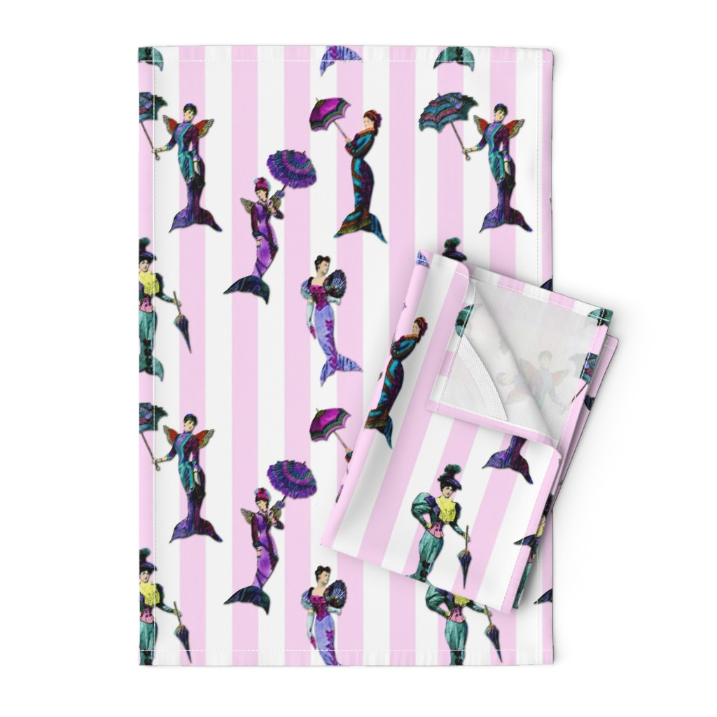 Orpington Tea Towels featuring pink stripe MERMAIDS BadaBlingDesignsLtd by bada_bling_designs