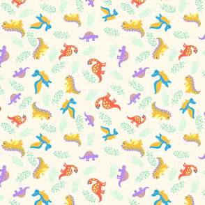 Vintage with dinosaur for fabric design.