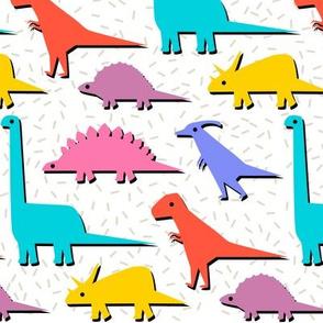 nineties pop-art dinosaur stampede