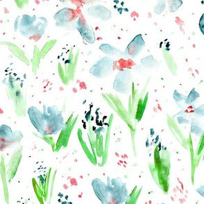 July's blossom • indigo watercolor flowers