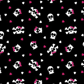 Ditsy Skull and Bones Pattern Black Background