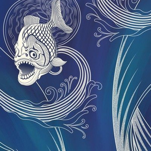 ★ MEGA PIRANHA PARANENSIS ★ Blue, Large scale / Collection : Prehistoric Fish – Jurassic prints