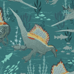 Dino Spinosaurus Underwater Life- Dinosaurs- Teal-Large Scale