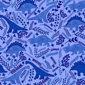 Dino Garden / dinosaurs leafs and flower blue