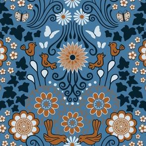 Decorative Garden Scene Steel Blue