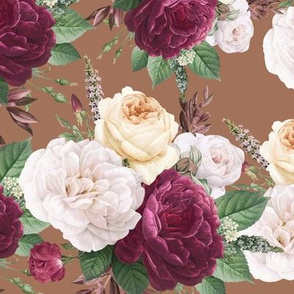 Bunch of Flowers on Brown Background