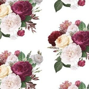 Floral Bunch - Maroon, Red, Cream, White Flowers
